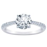 18k Tapered Petite Round Diamond Engagement Ring 0.15ctw