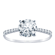 18k Tapered Petite Round Diamond Engagement Ring