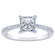 18k Tapered Petite Princess Diamond Engagement Ring 0.15ctw