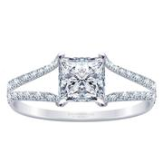 18k Princess Diamond Split Row Engagement Ring 0.32ctw