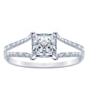 18k Princess Diamond Split Row Engagement Ring