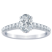14k Oval Cut Diamond Engagement Ring, 1/5 ctw