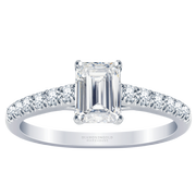 14k Emerald Diamond Engagement Ring, 1/5ctw