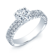 18k Two Row Diamond Engagement Ring
