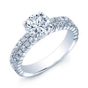 Round Diamond Engagement Ring - Two Row