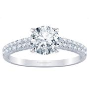 Round Diamond Engagement Ring - Two Row