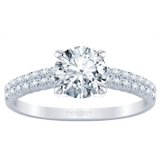 18k Two Row Diamond Engagement Ring, 3/5ctw