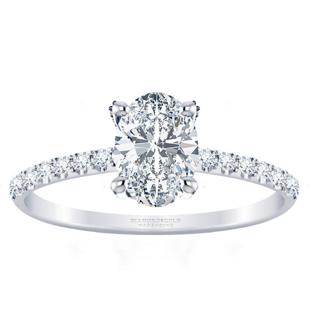 3/5ctw Oval Diamond Engagement Ring Diamond Prongs