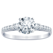 3/8ctw Diamond Bridge Accented Engagement Ring