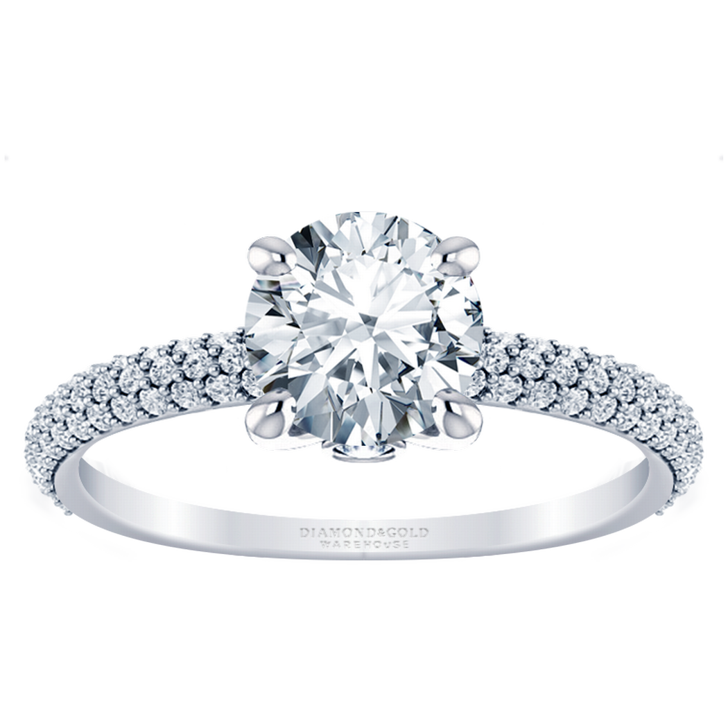 14k Multi Row Pave Engagement Ring