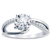 1/5ctw Asymmetrical Split Band Engagement Ring