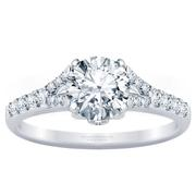 Diamond Split Engagement Ring with Diamond Accents