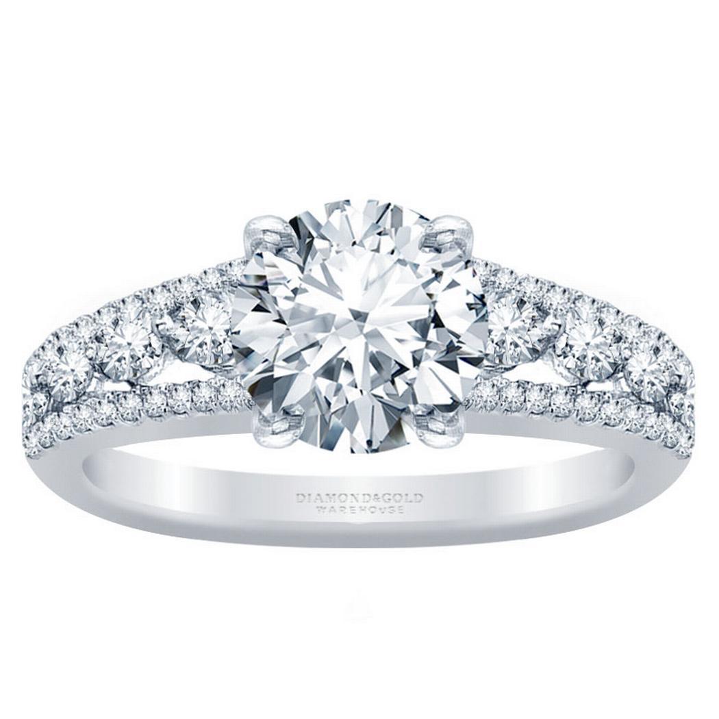 Three Row Round Diamond Engagement Ring