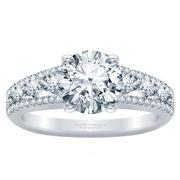 18k Three Row Round Diamond Engagement Ring
