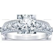 14k Three Row Round Diamond Engagement Ring
