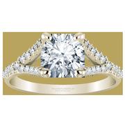 14k Round Split Band Diamond Engagement Ring