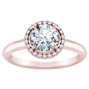 Round Halo Diamond Solitaire Engagement Ring