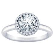 Round Halo Solitaire Engagement Ring