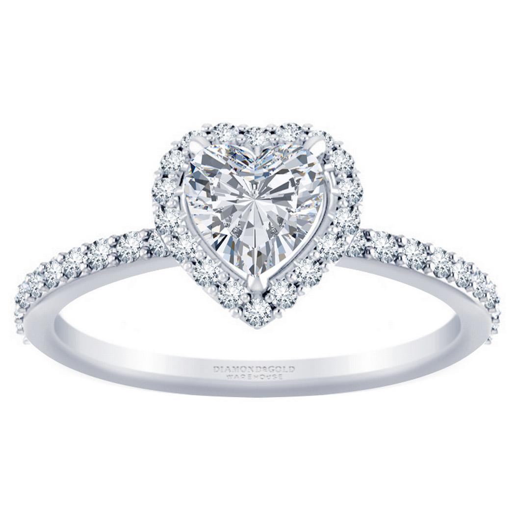 Heart Diamond Halo Engagement Ring