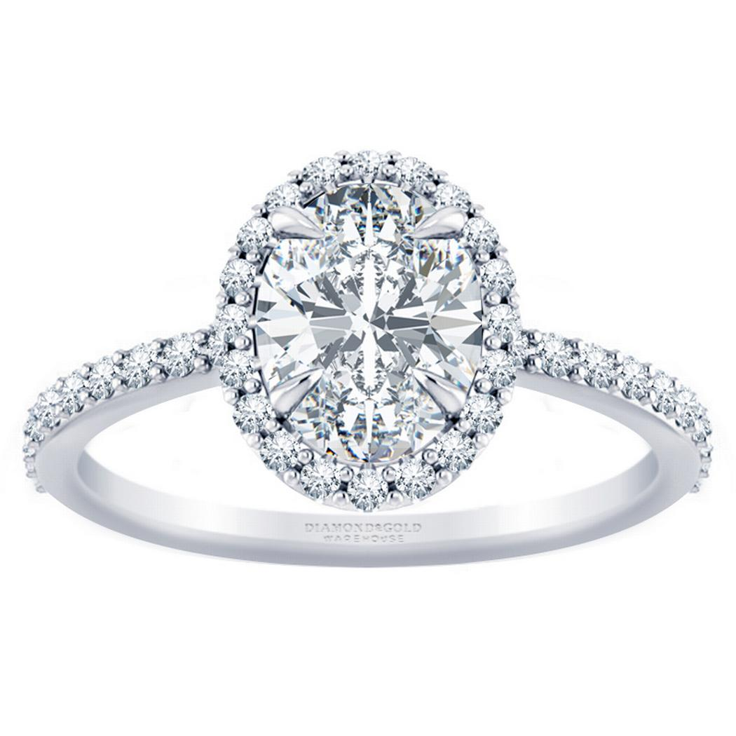 Pave Oval Diamond Halo Engagement Ring