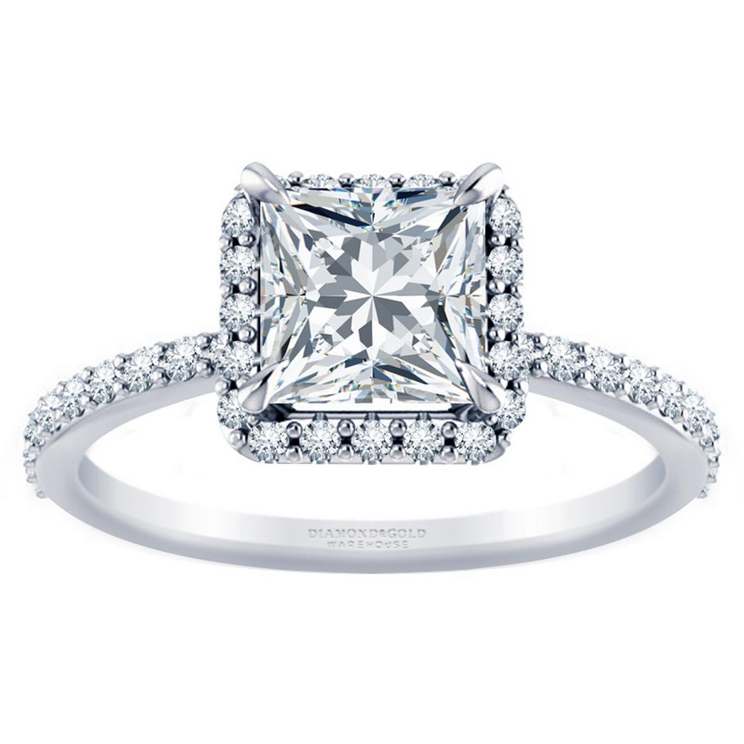 Princess Diamond Halo Engagement Ring