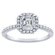 1/3ctw Tiffany Style Halo Engagement Ring Asscher Diamond