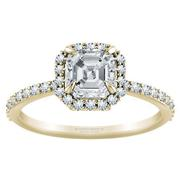 Asscher Diamond Halo Engagement Ring