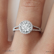 1/3ctw Split Band Halo Engagement Ring Round Diamond