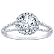 1/3ctw. Split Band Halo Engagement Ring, Round Diamond
