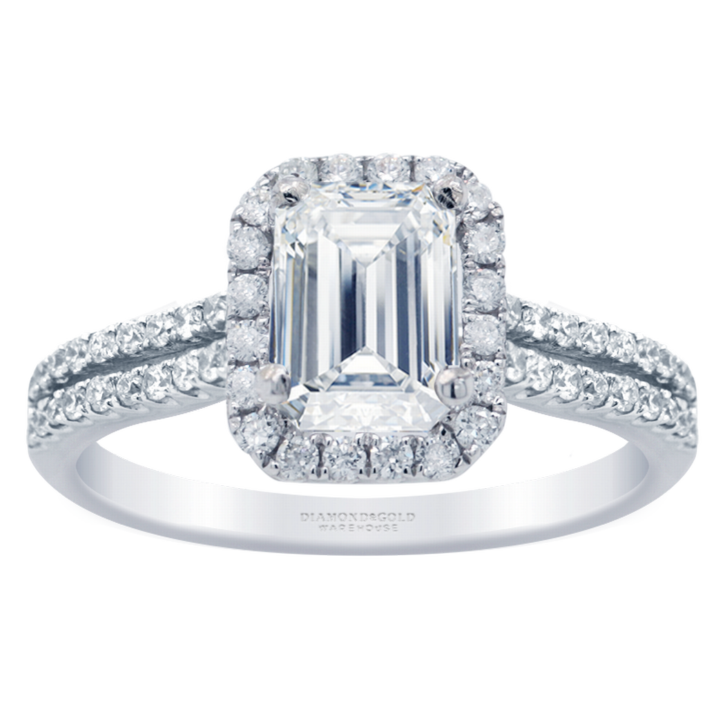 Emerald Halo Engagement Ring - Double Row