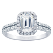 2/5ctw. 18k Two Row Halo Engagement Ring, Emerald Diamond