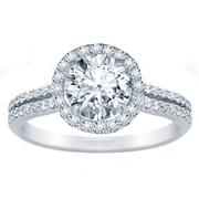 Round Diamond Halo Engagement Ring- Double Row