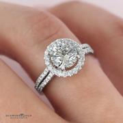 Round Diamond Halo Engagement Ring- Double Row