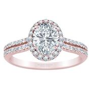 Oval Diamond Halo Engagement Ring - Double Row