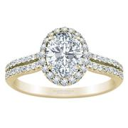 Oval Halo Engagement Ring - Double Row