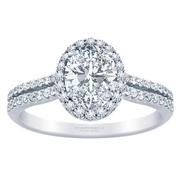 Two Row Oval Diamond Halo Engagement Ring