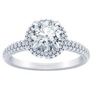 Round Diamond Pave Halo Engagement Ring