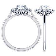 Flower Halo Diamond Engagement Ring