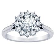 Flower Halo Diamond Engagement Ring