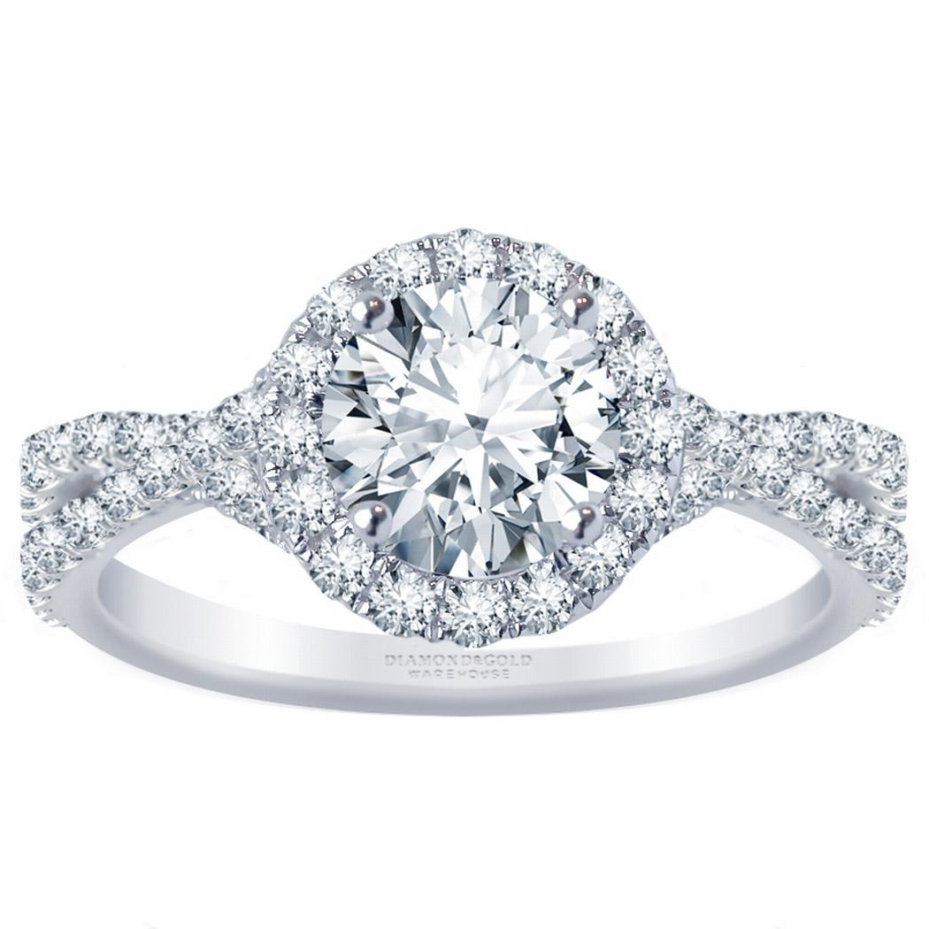 Round Diamond Halo Engagement Ring - Twisted