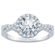 Twist Round Diamond Halo Engagement Ring
