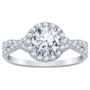 2/5ct.tw. Twist Band Halo Engagement Ring, Round Diamond
