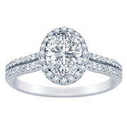 2/5ctw. 18k Two Row Halo Engagement Ring, Oval Diamond