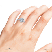 1/3ctw Tiffany Style Halo Engagement Ring, Claw Prongs, Oval