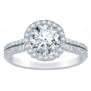 2/5ctw. 18k Two Row Halo Engagement Ring, Round Diamond