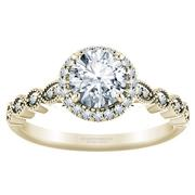 1/4ctw Vintage Milgrain Halo Engagement Ring