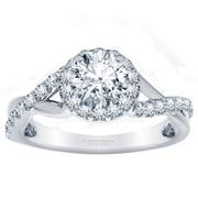 Twisted Diamond Halo Engagement Ring