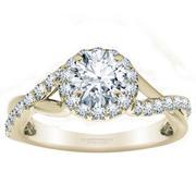 Twisted Diamond Halo Engagement Ring