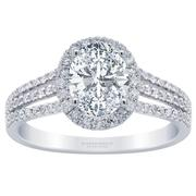 Oval Diamond Halo Engagement Ring - Three Row