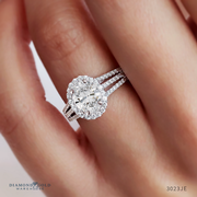 Three Row Oval Diamond Halo Engagement Ring